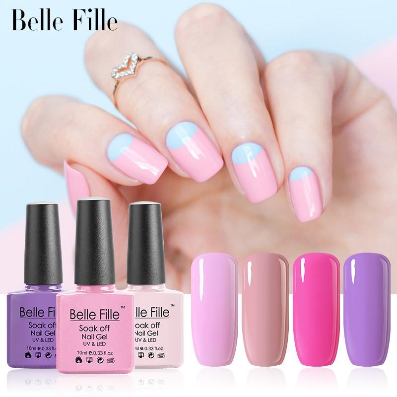 Belle Fille Uv Nail Gel Polish Rose Led Sweet Pink Lacquer Soak