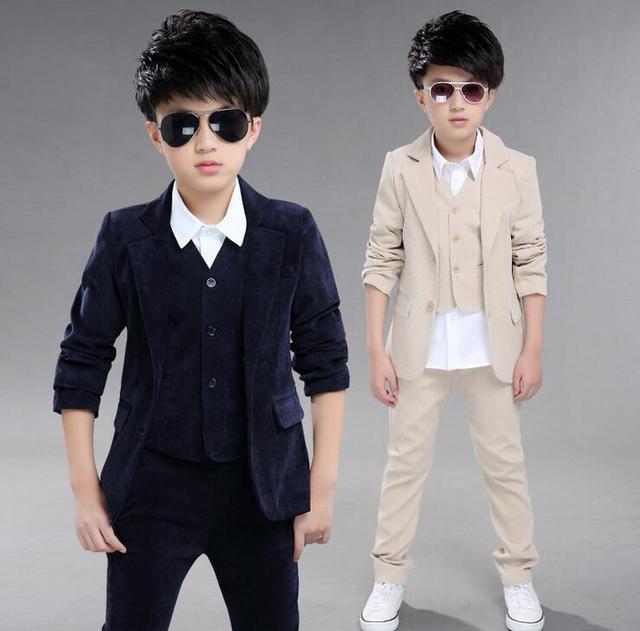 Cardigan Boys Sets Autumn New Arrival Kids Suit Solid Color Boy's Formal Wear Kinderkleding Jongens Coat And Pants Three - piece