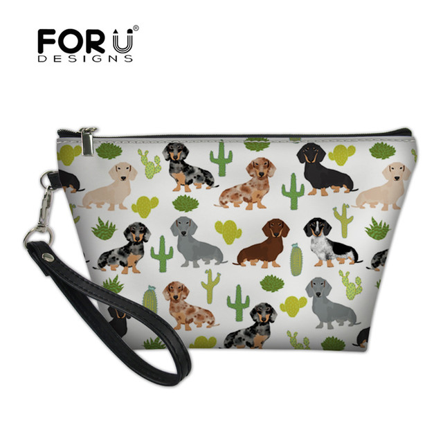 88e95c023fd0 US $7.13 49% OFF|FORUDESIGNS Dachshund Dog Cactus Portable Make up Women  Girls Cosmetic Bag Toiletry Travel Kit Storage Pouch Beauty Case Vanity-in  ...