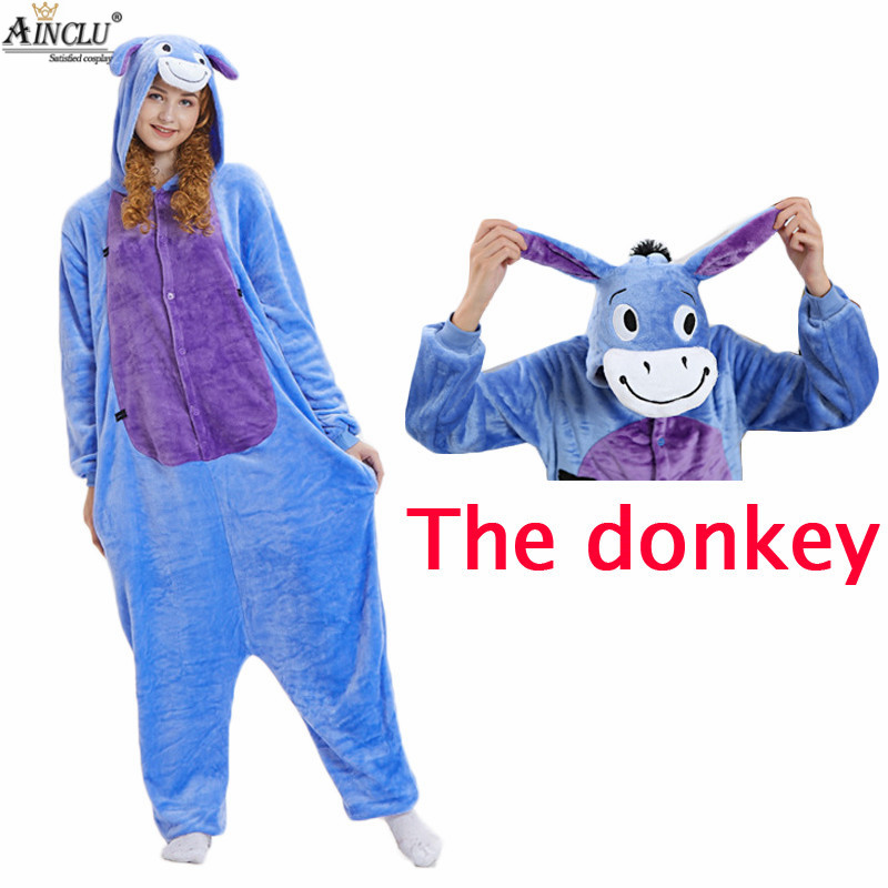 Ainclu Eeyore Donkey Pajamas One PIECE Pyjama Animal Suits Costumes Adult  Flannel Cartoon Animal New Onesies Costume Sleepwear c31f9722e372