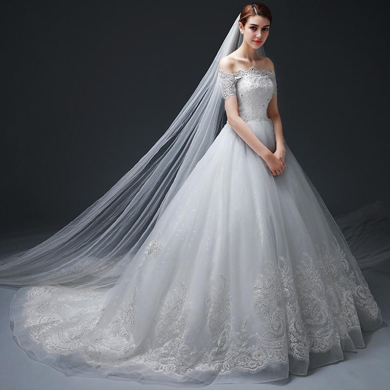 Vestido de Noiva Off-the-ώμου μπάλα φόρεμα - Γαμήλια φορέματα - Φωτογραφία 2