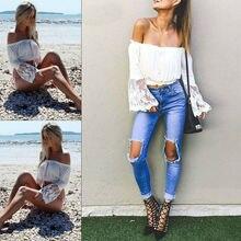 Women Long Sleeve Slim Solid Off Shoulder Lace Top T-Shirt Plus Size