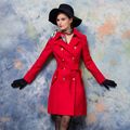 Femme Double Breasted Denim Full Sleeve Solid Casual Long Style Turn-down Collar Trench Coat Red Casaco Inverno Faminino S-XL