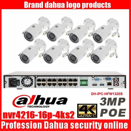 Dahua mutil language 4K H.265 16ch POE DHI-NVR4216-1P-4KS2 security camera kit with 3MP POE DH-IPC-HFW1320S bullet IP camera dahua 3mp network ir bullet camera ipc hfw1320s freeship poe original english version dh ipc hfw1320s dahua ip camera