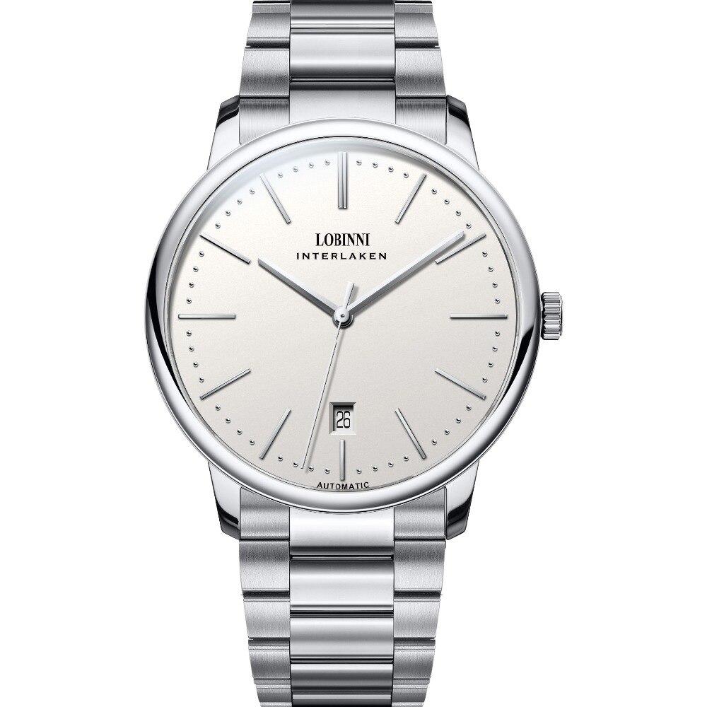 LOBINNI Men Business Waterproof Fashion Simple Style Automatic Self wind Mechanical Wrist Watch Steel Band