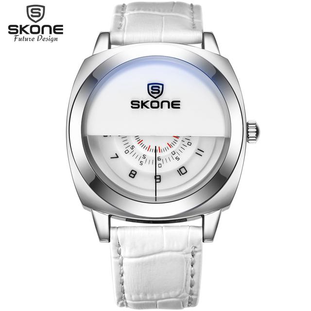 Amantes SKONE Moda 3 in1 Diseño Dial Relojes de pulsera de Cuarzo Correa de Cuero Genuino Reloj Deportivo para Mujeres Hombres Relogio masculino