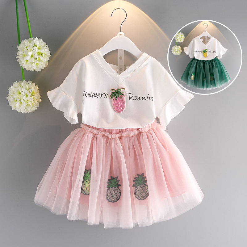 Girls Dress Summer 2018 Cotton T-Shirts+Tutu Dress 2Pcs Suits Pineapple Girls Clothes Sets Fashion Princess Kids Outfits ...