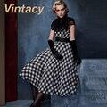 Vintacy estilo vintage otoño mujeres a cuadros sin mangas de dress patchwork dress casual red 1960 s de la vendimia manera de las mujeres vestidos de fiesta
