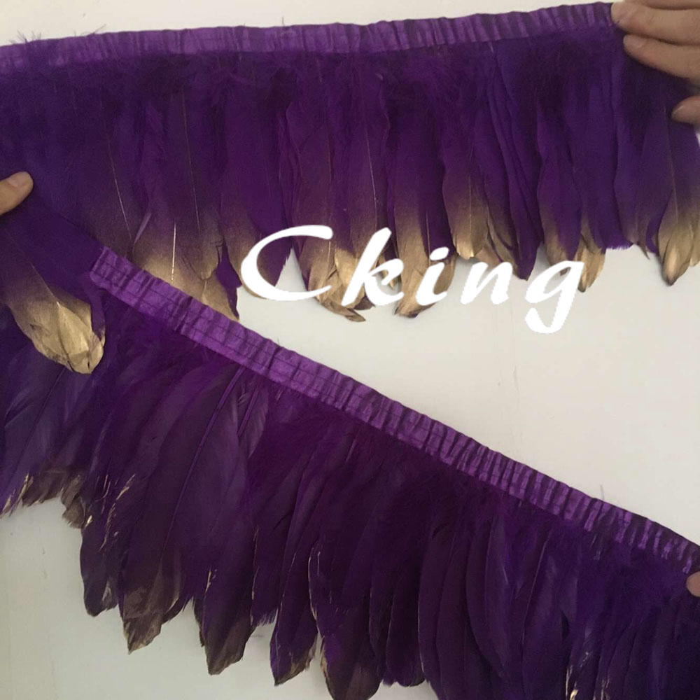 Cking Factory Sales 4meters/lot gold paint tips goose feather trims fringes ribbons 13-20cm in width for cloth accessorys