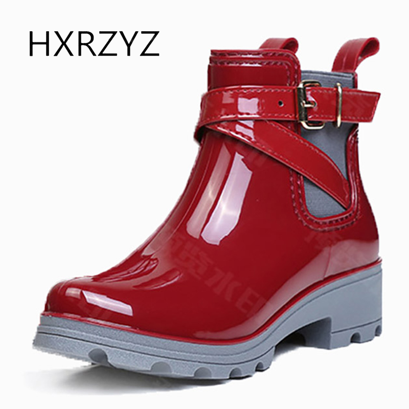 HXRZYZ women ankle rain boots spring/autumn buckle jelly shoes ladies fashion waterproof thick bottom women's high heel boots hxrzyz women rain boots spring autumn female ankle boots ladies fashion high top blue and red non slip waterproof women shoes