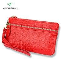 Genuine Leather New Fashion Women Long Clutch Bags Wallets Wristlet Leather Zipper Change Purses Cowhide Handbags