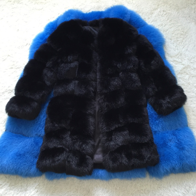 New Medium Long Fake Fox Fur Jacket Women Winter Faux Fox Fur Jackets Woman Warm Artifical Fox Fur Coats Female Ladies Fur 2