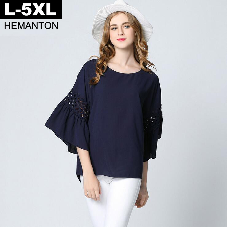 Big Size Flare Sleeve Casual Women Blouses 2018 Summer Navy White Color loose ladies shirts 4XL 5XL Plus Size Blouse Shirt Tops