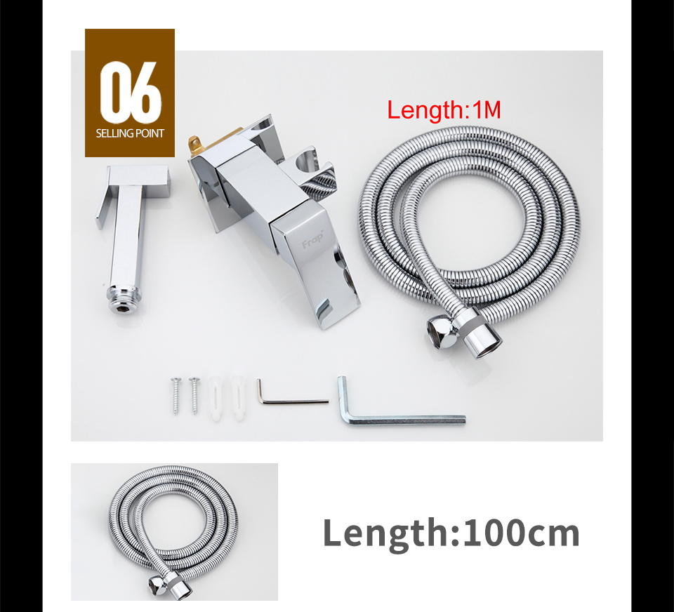 FRAP Chrome Brass Bidets Bathroom Toilet Sprayer Muslim Shower Bidet Tap Hygienic Shower Wall Mount Shattafs Faucets F7506