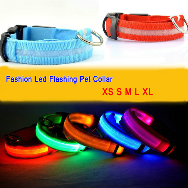 Pure Color Pet Dog Cat Led Collar Night Light Up Flashing Saftey Lead Necklace Leash Adjustable XS S M L XL Various Colors