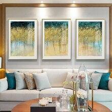 Абстрактная капля золотой фольги дерево холст живопись золотистый постер с принтом, большой размер стены искусства картины для гостиной 3 шт художественный стол