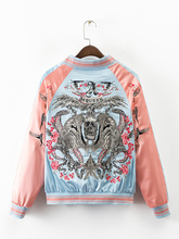 2016 Autumn embroidered bird women bomber jacket long sleeve contrast color zipper casual stain cotton long sleeve top plus size