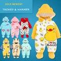 Детская одежда комбинезон + шляпа + обувь звериного стиля теплые с капюшоном ребенка комбинезон зимние мальчики девочки одежда костюмы для новорожденных одежда