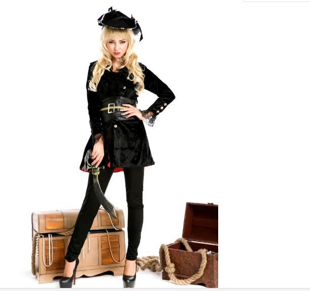 pirates Costume Women Sexy Skirt Halloween Party Cosplay Fantasy Stage Performance Black Gold With Blinder Hat Carnival Outfit