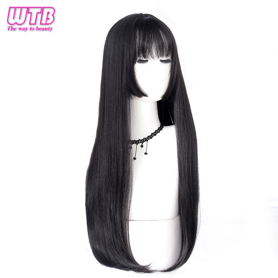WTB Long Straight Hair Black Synthetic Wigs for Women Fashion Female Cosplay Party Christmas Wigs Free Gifts