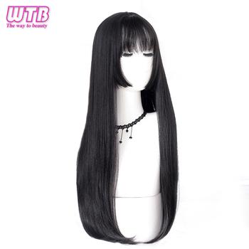 WTB długie proste włosy czarne peruki syntetyczne dla kobiet moda kobieta na imprezę cosplay świąteczne peruki darmowe upominki tanie i dobre opinie 1 sztuka tylko Wysokiej Temperatury Włókna 100 Średnia wielkość