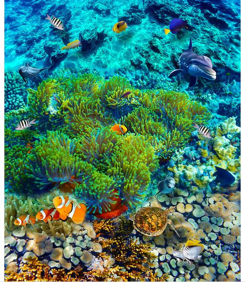 ФОТО 3D wallpaper custom mural beauty Underwater world tropical fish 3 d floor tile pvc wallpaper room decoration