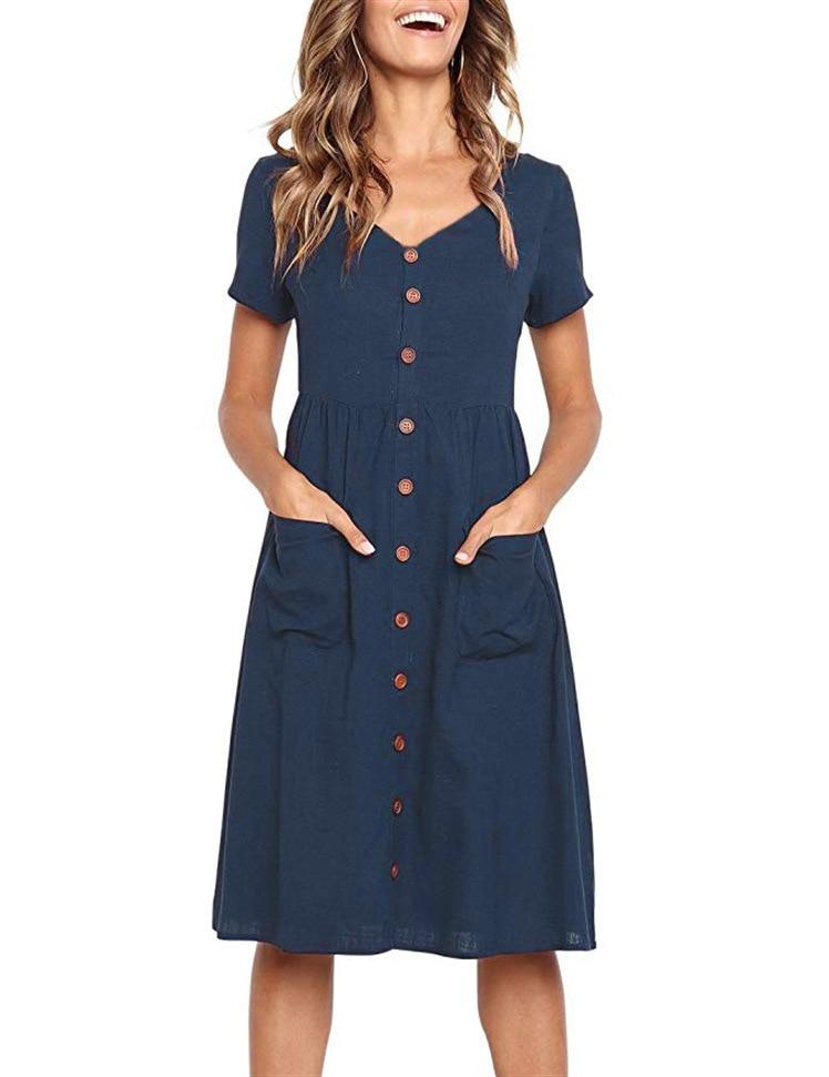 Red Blue A Line Casual Dresses Women Autumn Dress 19 Vintage Long Sleeve Dress For Ladies Buttons V Neck Midi Vestidos Female 50