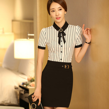Bow Shirts Striped Blouse With Tie New Fashion Style Black and White Short Sleeve Tops Women Office Ladies Formal Work Wear