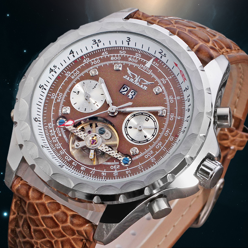 ФОТО New Dress Fashion Leather Best Gift Tourbillon Business Wristwatch Color Brown with Original Box