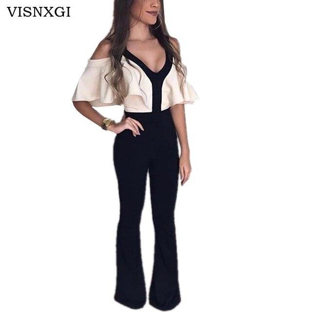 5d7cd37f7cd VISNXGI Off Shoulder Summer Romper Jumpsuit Woman Party Wide Leg Bodysuit  Woman Work Wear Pants V Neck Ruffle Femme Playsuits