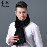 2018 Fashion Men's Real Mink Knitted Scarf Winter Warm Hand Made Fur Scarf Luxury Mink Coat Genuine Mink Fur Solid Men Scarves