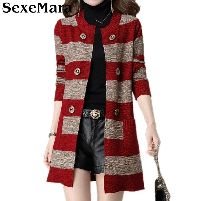 2018 New Winter Knitted Cardigan Women Top Quality Long Sweater Coat