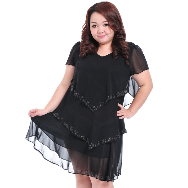 b6ff436c519 Womens Summer Dresses 2015 Summer New Large Plus Size Women Dress Chubby  4XL 3XL Blue Black Orange 3 Color
