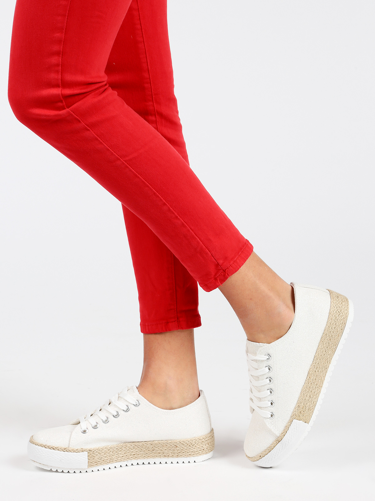 Flat Sneakers With Rope-white