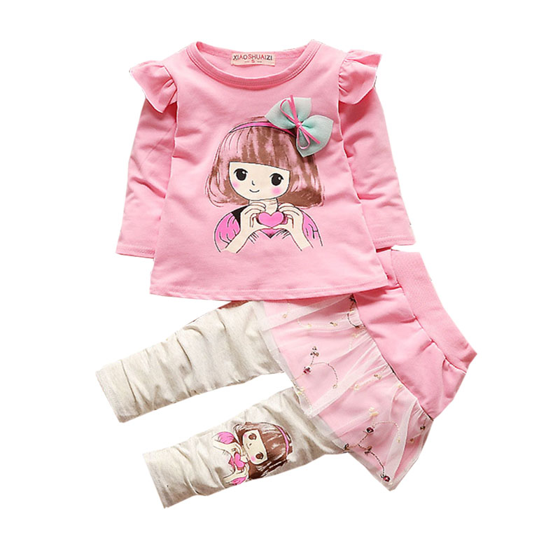 Baby girl clothes spring season coat cartoon print skirt pants Net yarn beautify sweet suit 1 4 years old children 39 s clothing in Clothing Sets from Mother amp Kids