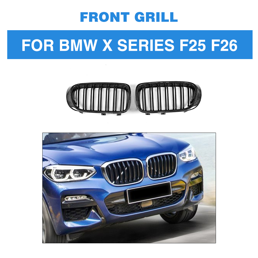 X Series Carbon Fiber Car Styling Gloss Black Front Bumper Grill Grille For BMW F25 X3 F26 X4 SUV 4 Door 2014 2017