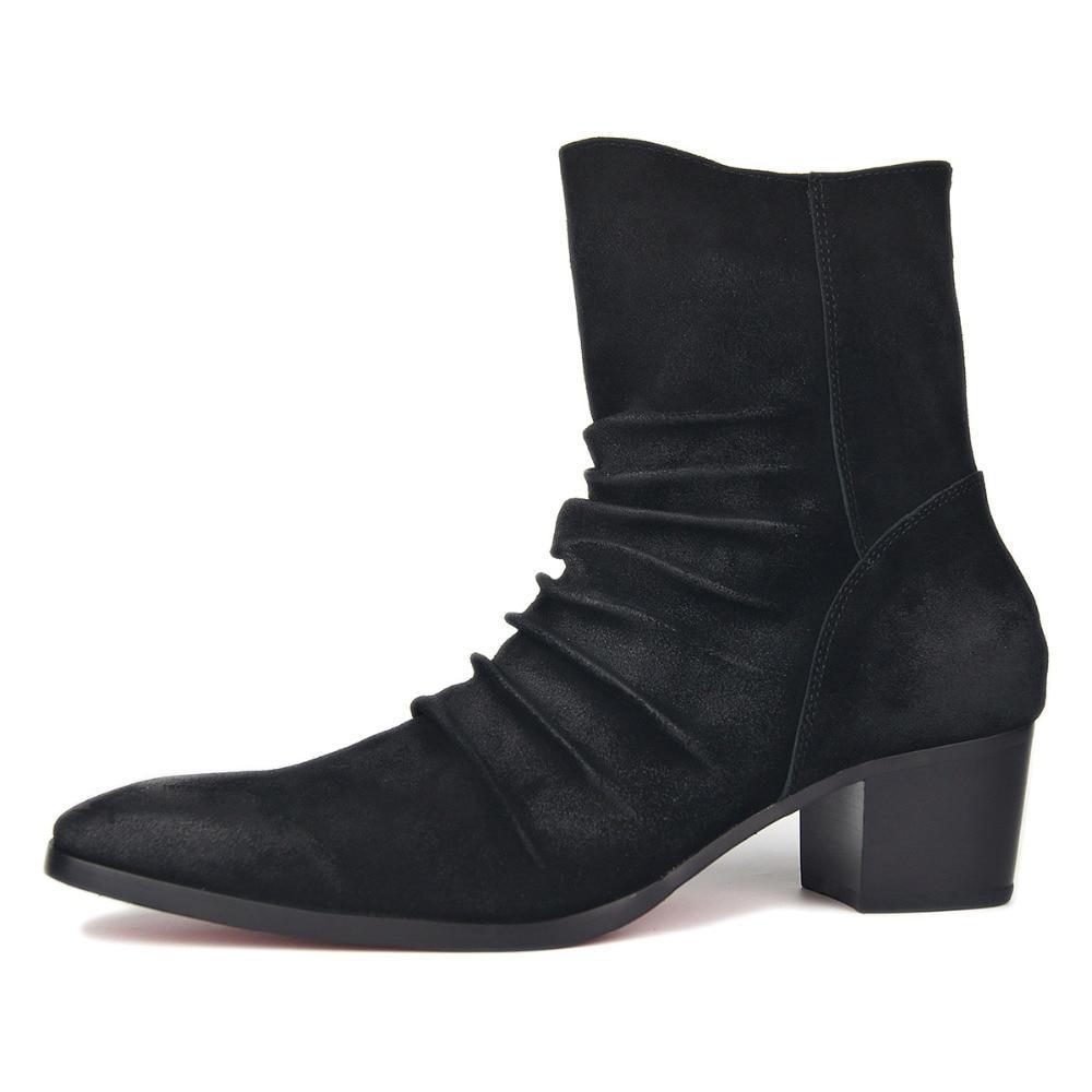 Cremallera Hombres Chelsea Zapatos De Del Genuino Falda Cuero Botas Tacón Alto Moda Los Vaca Fondo Rojo Británica Estilo PRwxzqaa