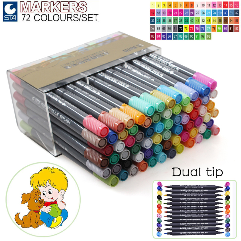 STA 24 36 48 72Colors Artist Double Headed Markers Set Soft Head Design Paint Sketch Manga Markers for Art Supplies sta 24 colors artist dual head sketch marker set alcohol based animation manga art markers for school supplies