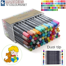 STA 24 36 48 72Colors Artist Double Headed Markers Set Soft Head Design Paint Sketch Manga Markers for Art Supplies