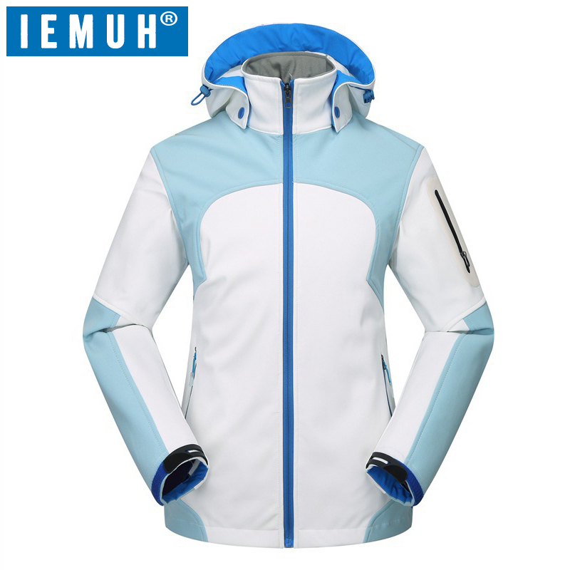 IEMUH Brand Women Softshell Hiking Jackets Outdoor Camping Coats Thermal Fleece Jacket Waterproof Windproof Winter Female Jacket