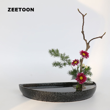 Black Zen Vintage Coarse Pottery Semicircle Japanese Flowerpot Shallow Tray Hydroponic Flat Containers Tabletop Flower Pot Vases