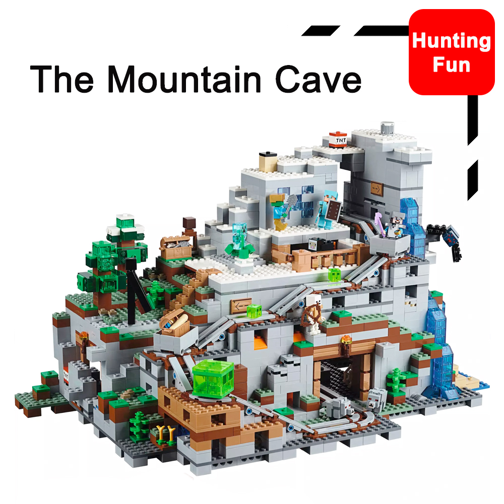 Fit Legoness Minecraft 21137 The Mountain Cave & Mini Version Set Minecart Track Figures Building Blocks Toys For Children Gifts-in Blocks from Toys & Hobbies