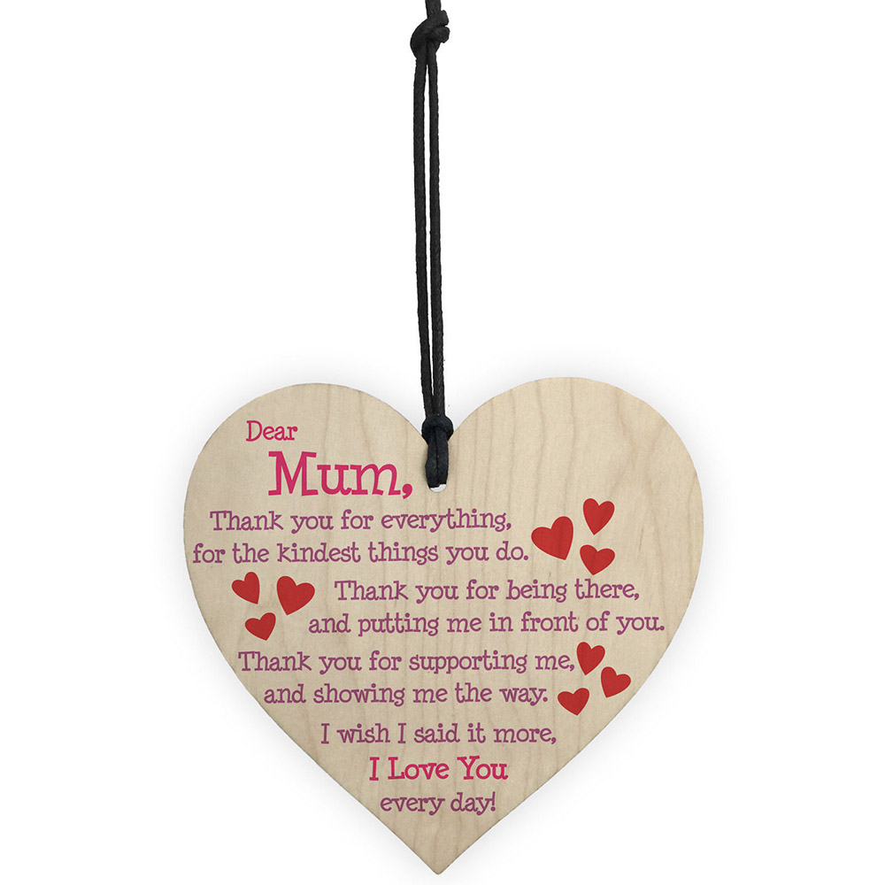 1Pc Mum I Love You Everyday Wooden Hanging Heart Mothers