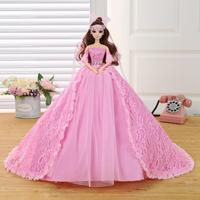 New Barbie Doll Weeding Dress Bud Silk Skirt Trailing Dress Children Brithady Girl Married Furnishing Articles Valentines Gift