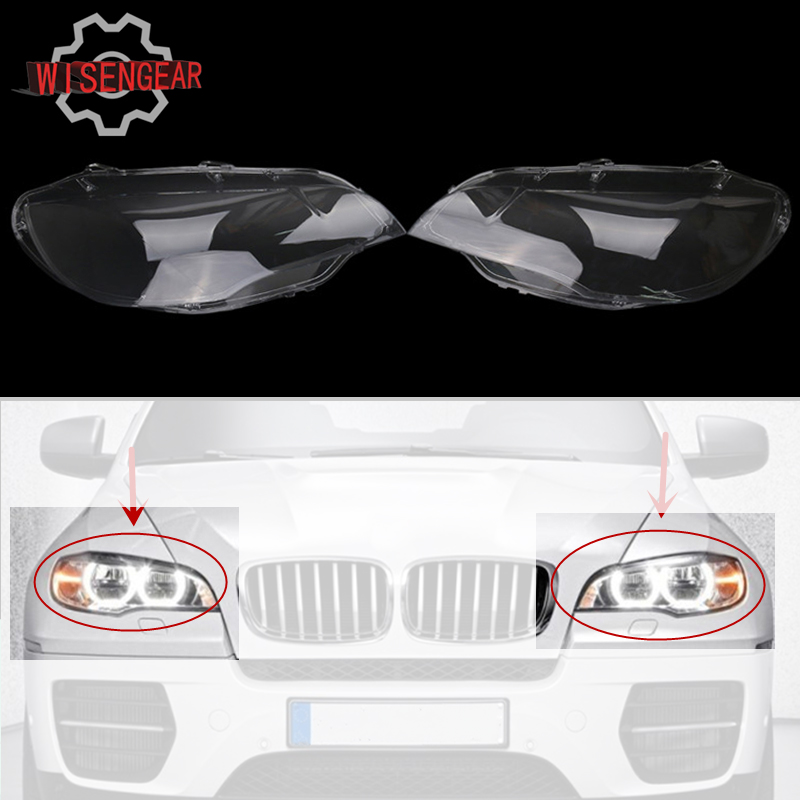 for BMW X6 X5M Headlight Cover Replacement Front HeadLamp Lens for BMW E71 X6 X5M 2008 2014 Car Lights Shell N002