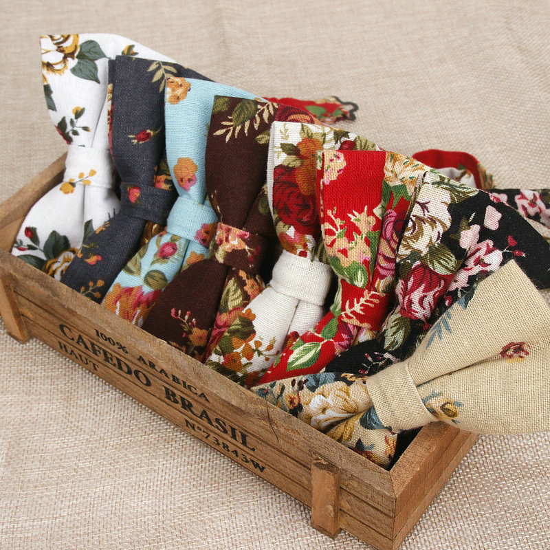 New Hot Men's Linen Floral Printed Formal Fashion Bow Ties For Man Khaki Black Neck Bowtie Bowknot Gravatas Necktie Butterfly