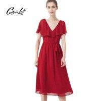 المدينة 2017 الصيف الرياح أزياء جديدة وصول المرأة اللباس مثير الخامس الرقبة عباءة كم سليم كان رقيقة حزام أحمر أسود حزب اللباس M-342