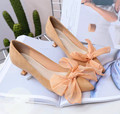 5..2017 new suede high-heeled shoes bow in spring and autumn is fine with shallow mouth pointed Nude shoes all-match tide women