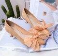5 .. 2017 nueva suede zapatos de tacón alto arco en primavera y otoño está muy bien con la boca baja señaló Nude zapatos de marea del todo-fósforo mujeres
