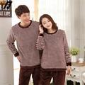 Coral Couple Thickened Lovers Pijamas Adult Onesie Pajamas Sets  Long Sleeved Loungewear Suit